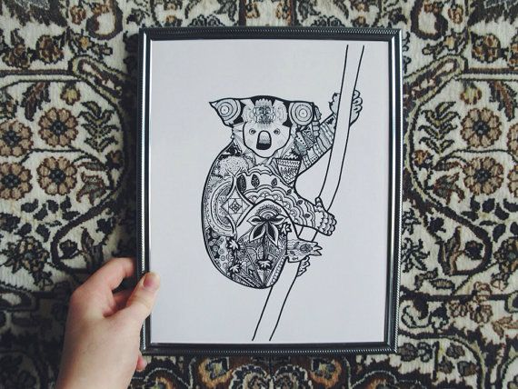 Koala Drawing Illustration Has A Detailed And Intricate Black