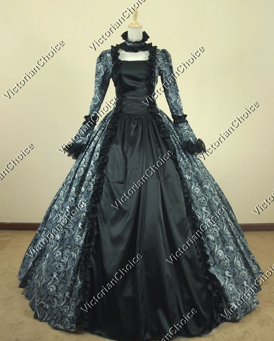 Victorian Gothic Cosplay Satin Dress Ball Gown Prom Reenactment ...