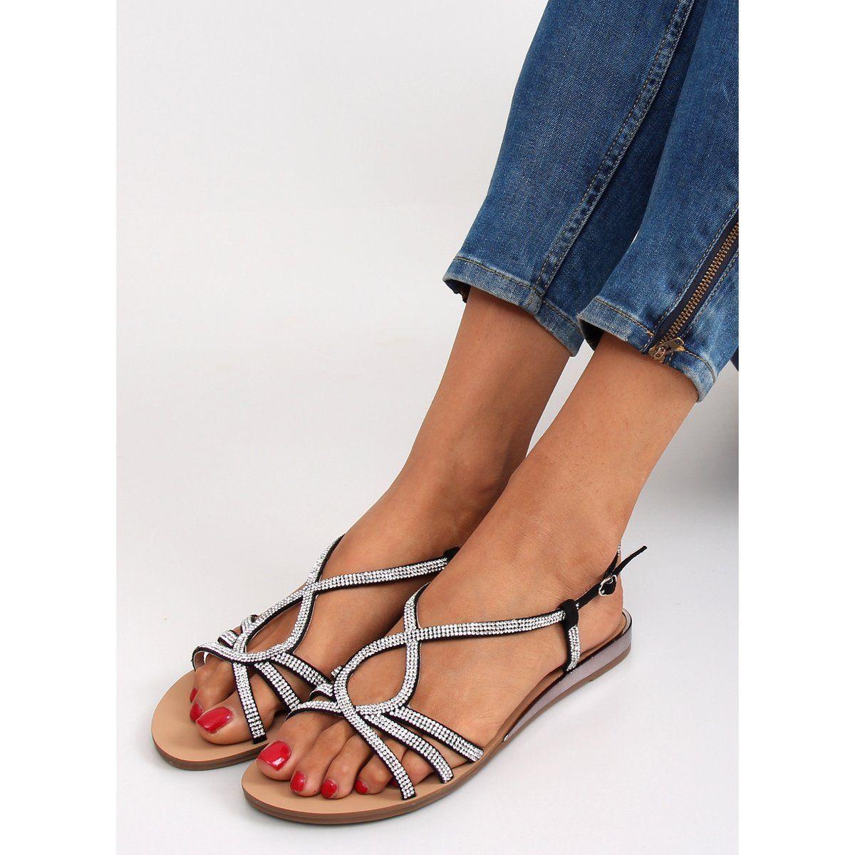 Sandalki Z Delikatnymi Krysztalkami D583 Czarne Heels Shoes Peep Toe