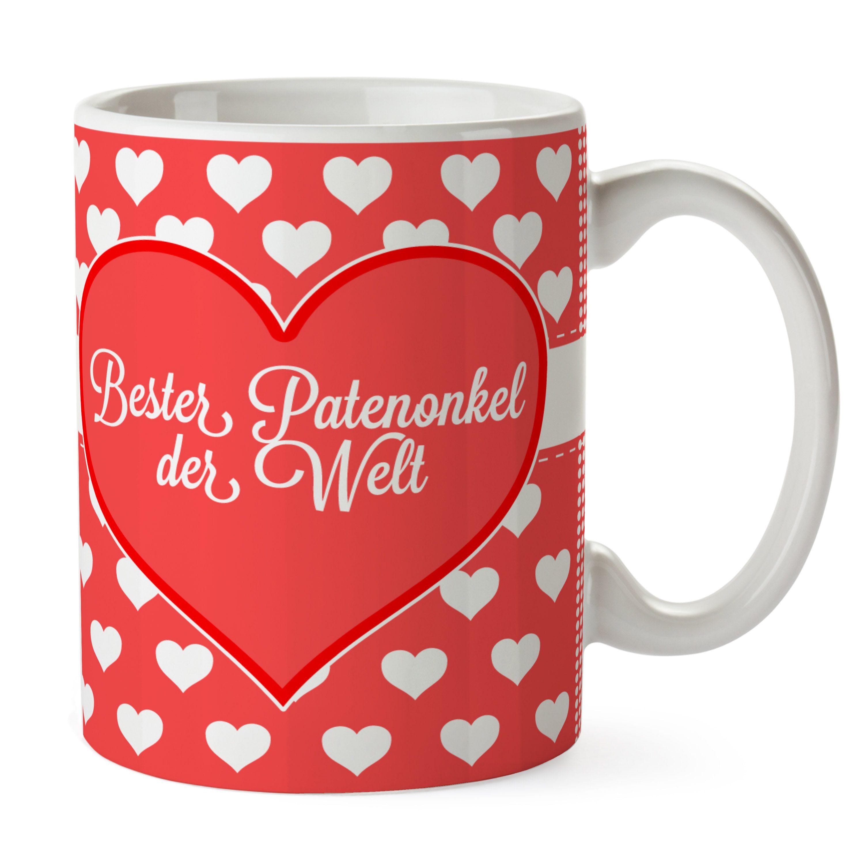 Tasse Herz Geschenk Bester Patenonkel der Welt aus Keramik