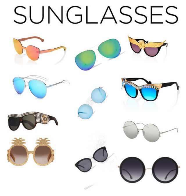 """""""Sunglasses"""" by fionabrown1 ❤ liked on Polyvore featuring RetroSuperFuture, Alice + Olivia, Gucci, Linda Farrow, Anna-Karin Karlsson and River Island"""
