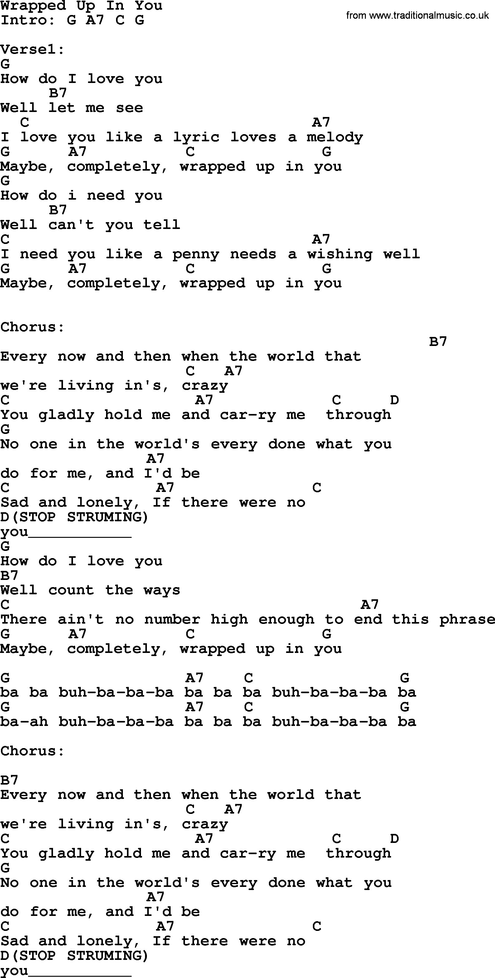 Wrapped Up In You By Garth Brooks Lyrics And Chords Garth