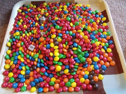 M&Ms, chocolate with a colored sugar shell