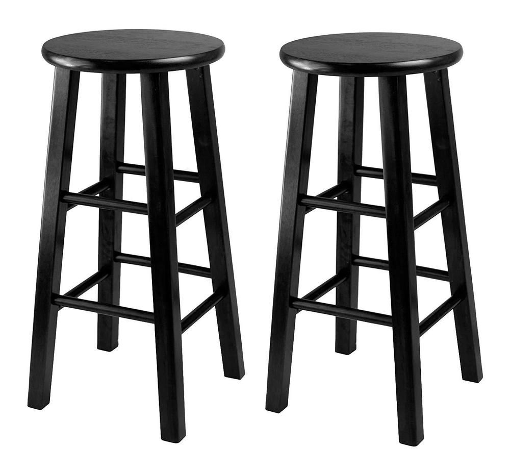 Details About Bar Counter Stool Set Of 2 Black 24 Inch Seat Height