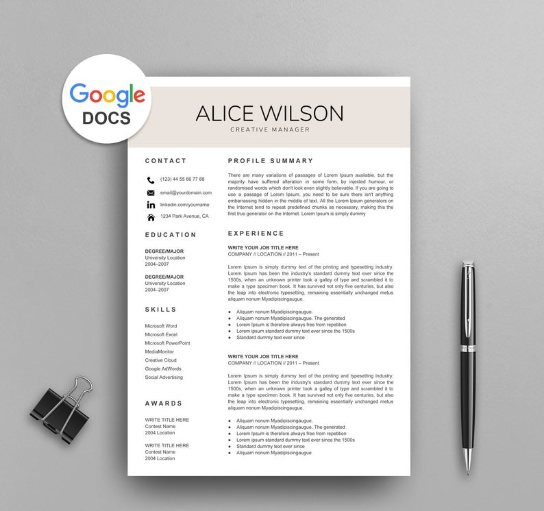 Resume Templates Google Docs Free (1 di 2020