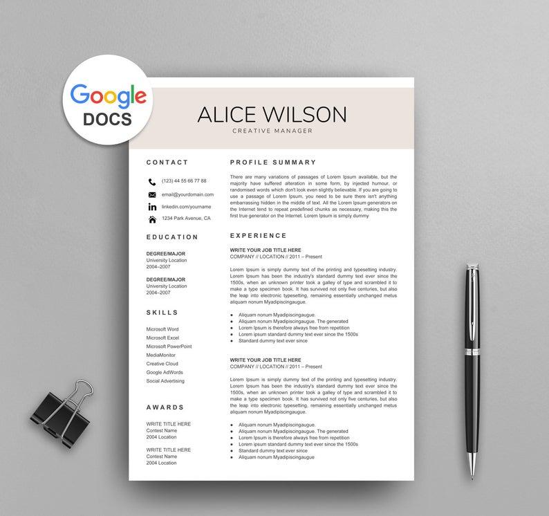 Nicole Tesla Google Docs Resume Template CV Template