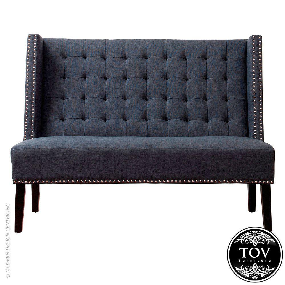 Tov Furniture Halifax Grey Linen Banquette Bench