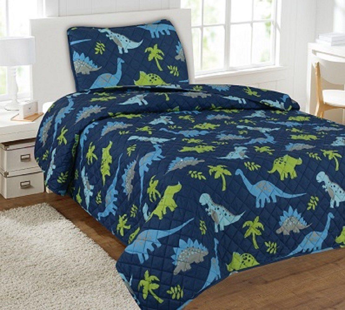 Best Amazon Com Wpm 2 Piece Twin Quilt Set Kids Teens Dinosaur 400 x 300