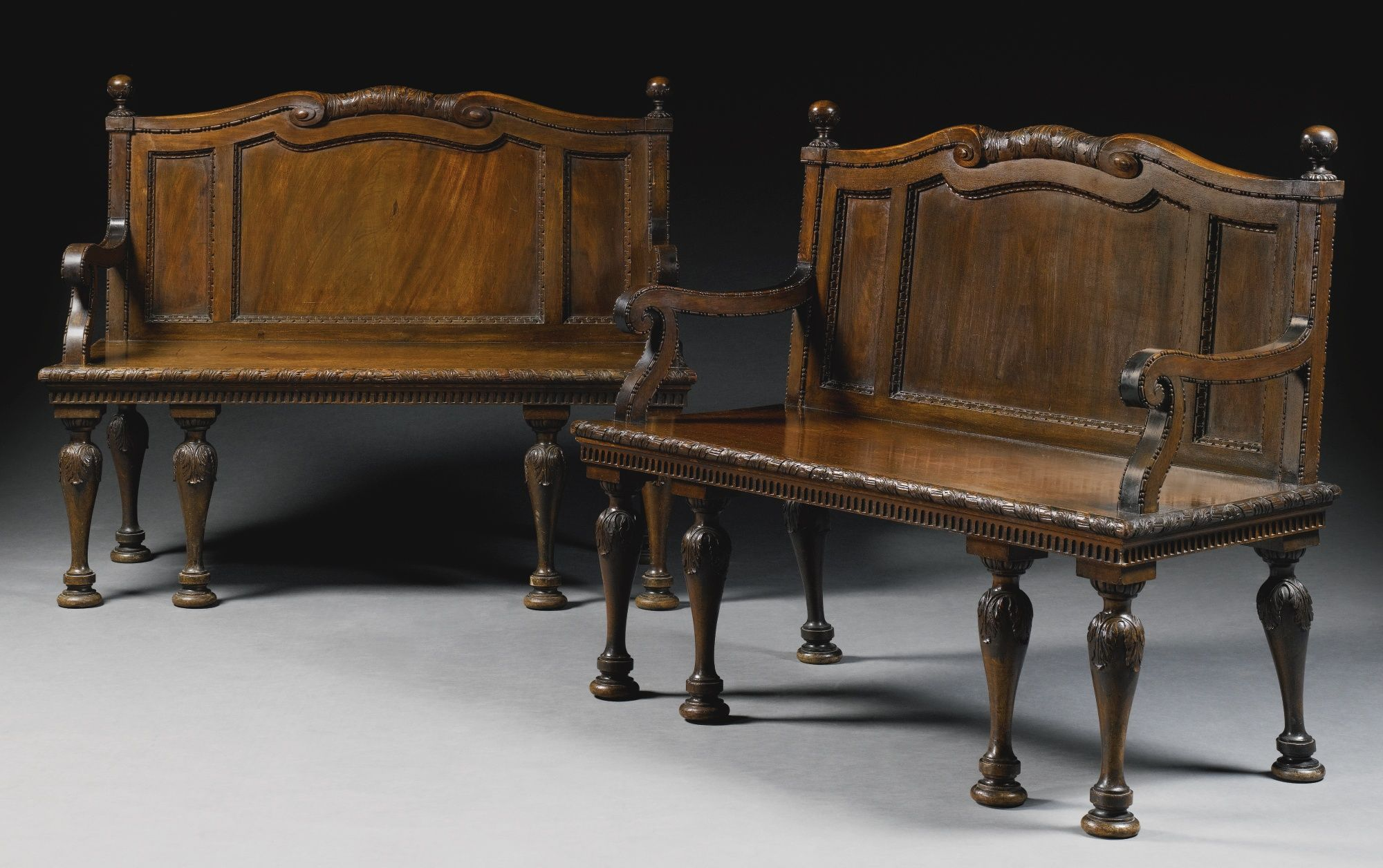 A pair of Early George III Mahogany Hall Benches circa 1760, Attributed to William and John Linnell | Lot | Sotheby's