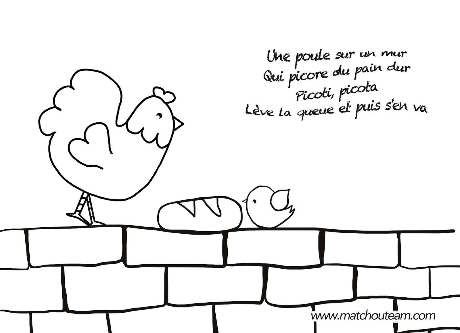 Comptine une poule sur un mur comptines french poems poems et illustration - Une poule dessin ...