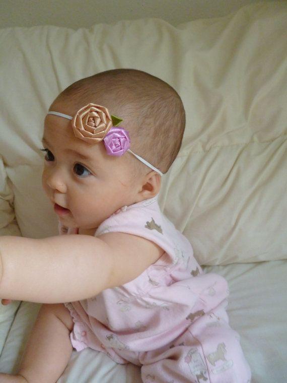 Adorable Rose Satin Ribbon Baby Headband  Elastic by TerriesCloth, $2.99