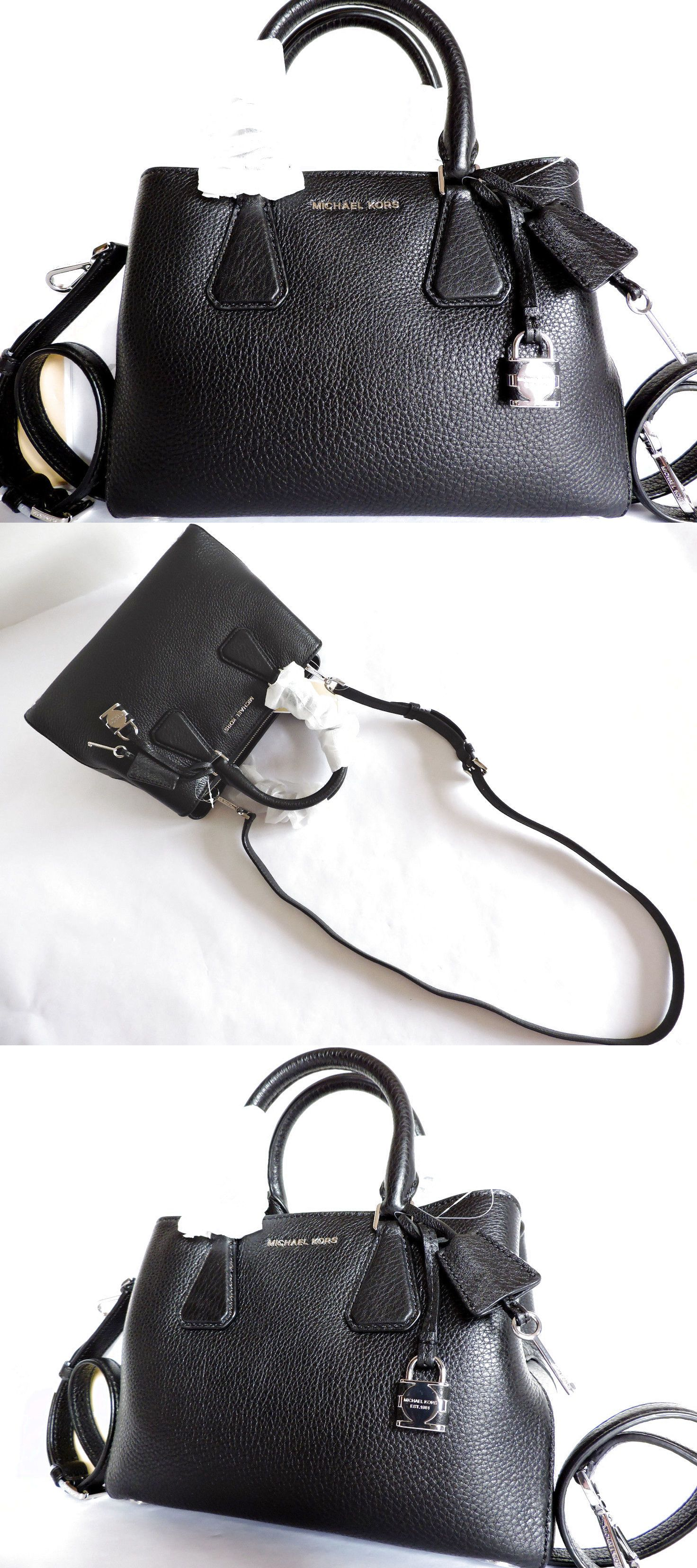 07c8807e774c Michael Kors Camille Black Pebbled Leather Small Satchel Bag NWT $229.0