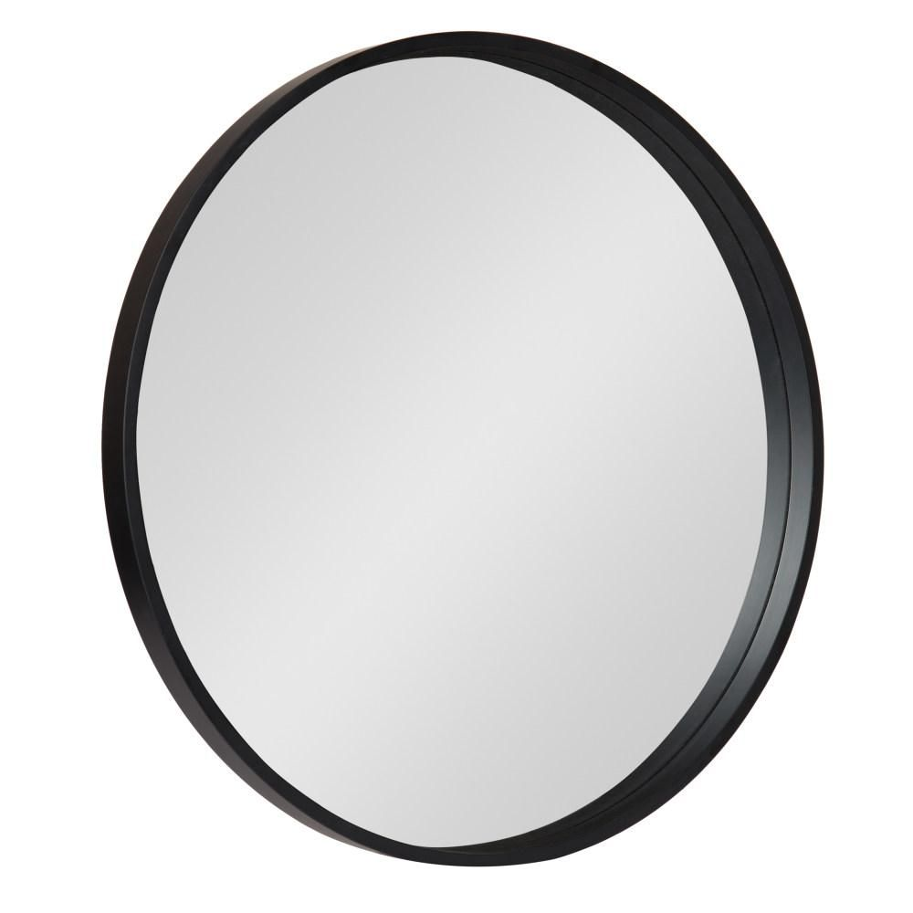 Kate And Laurel Medium Round Black Contemporary Mirror 25 59 In H X 25 59 In W 213122 The Home Depot Framed Mirror Wall Wood Accent Wall Frames On Wall