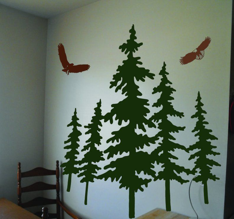 Vinyl Wall Decal Art Sticker with Pine Trees and Eagles. $95.00, via ...