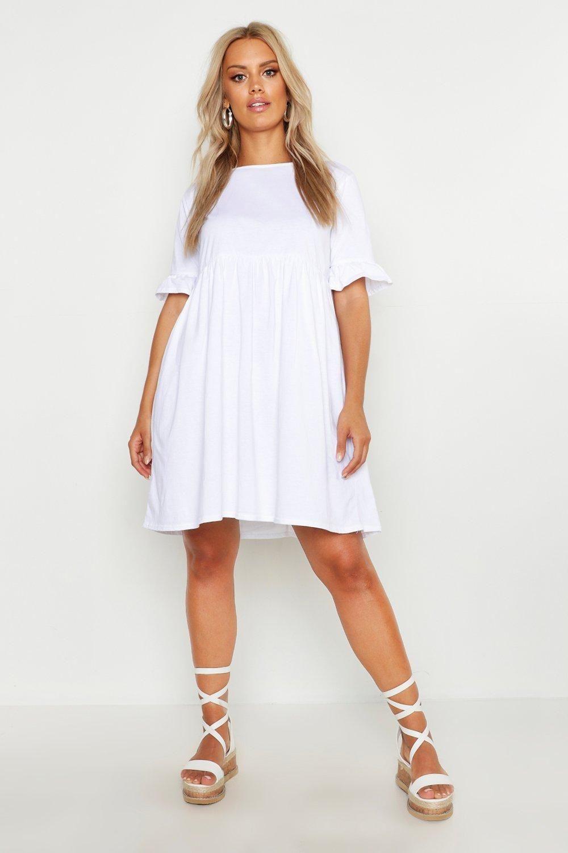 Plus Ruffle Cotton Smock Dress Boohoo In 2021 Boohoo Dresses Dresses Smock Dress [ 1500 x 1000 Pixel ]