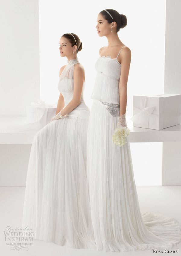 Rosa Clará 2013 Bridal Collection. Bailen lace and tulle gown; Balear rebrodé lace and pleated silk bambula gown with beadwork.
