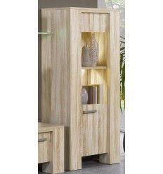 Élément de rangement desing composé d'une porte et de 2 niches coloris chêne nature