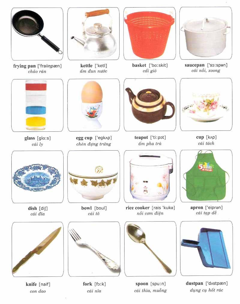 Kitchen vocabulary worksheet google search independent for Kitchen utensils list