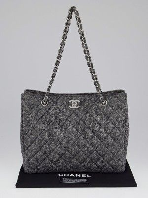 Chanel Black White Quilted Wool Tweed Cc Tote Bag 1996 1997