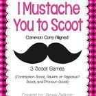 $4.50 This bundle offers three different mustache themed Scoot games that can be used to review contractions, distinguishing between adjectives and adverbs, and pronouns (including reflexive pronouns). The best part is, you can use the mustache theme any time of year!