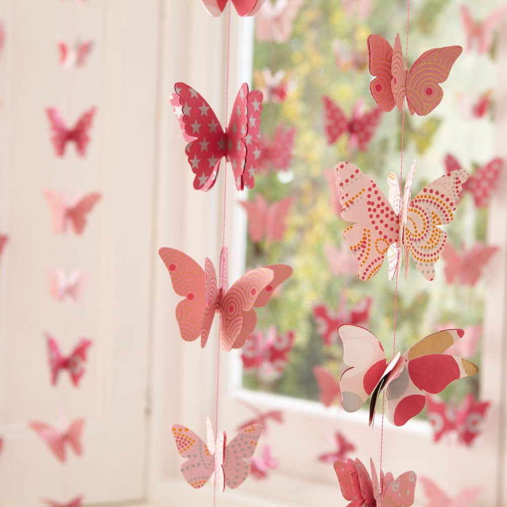 Butterfly Garlands (Set of 2) - Bunting & Decorations - Bedding & Room Accessories - gltc.co.uk