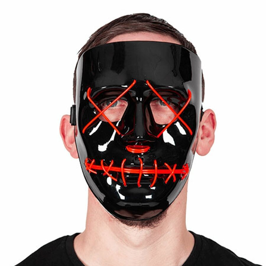 Adults Neon Light Up Mask LED EL Wire Purge Halloween Festival Fancy Dress