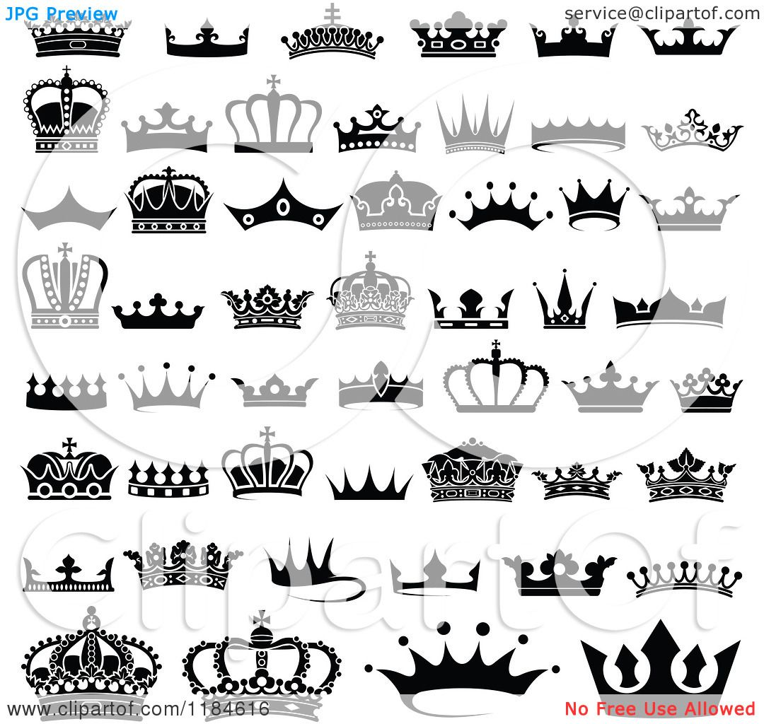 Clipart of black and white crown designs royalty free vector i enjoy the simplicity of these symbols i could use something like this in my work buycottarizona