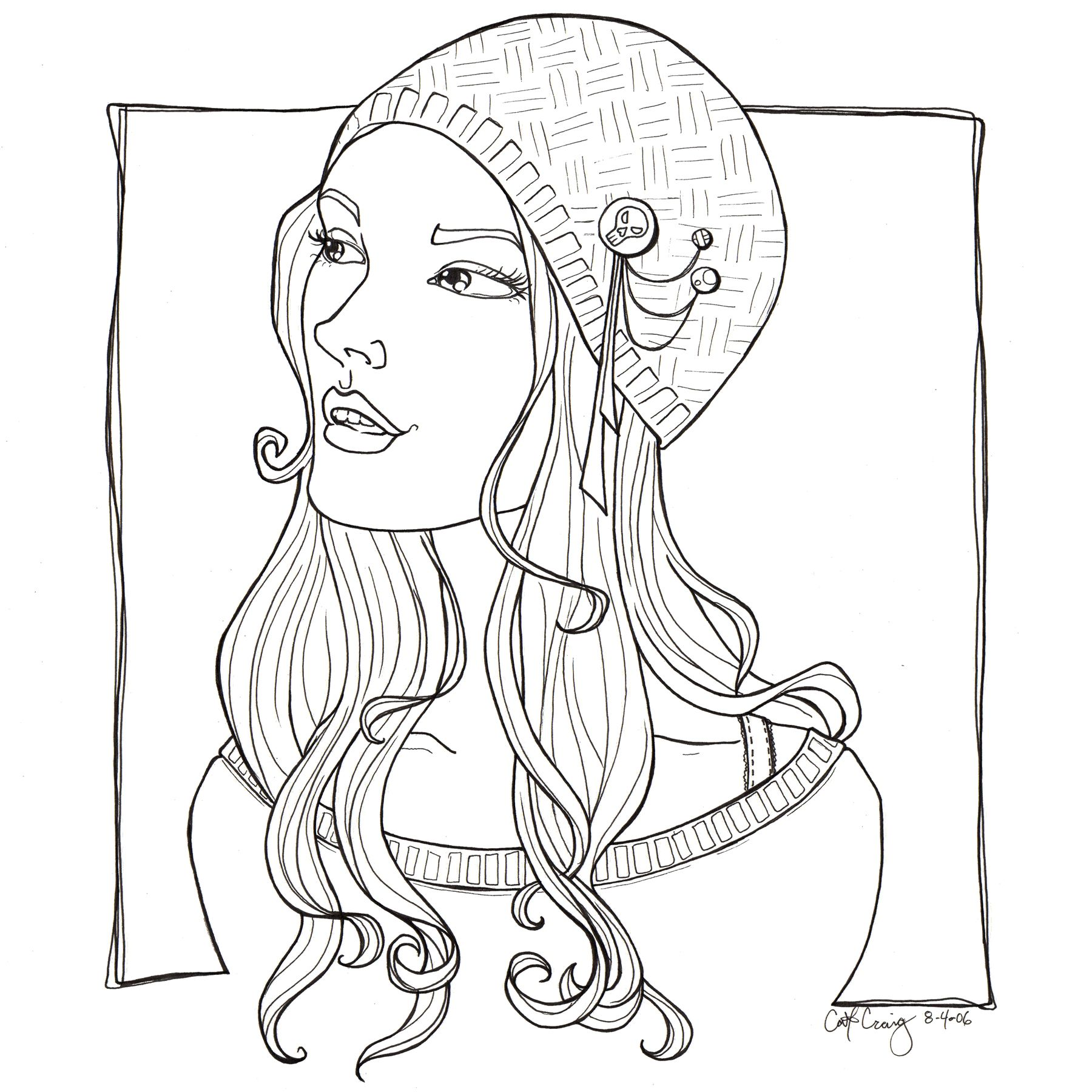 Pretty girl funky hat lineart by *catzilla on deviantART chica ...