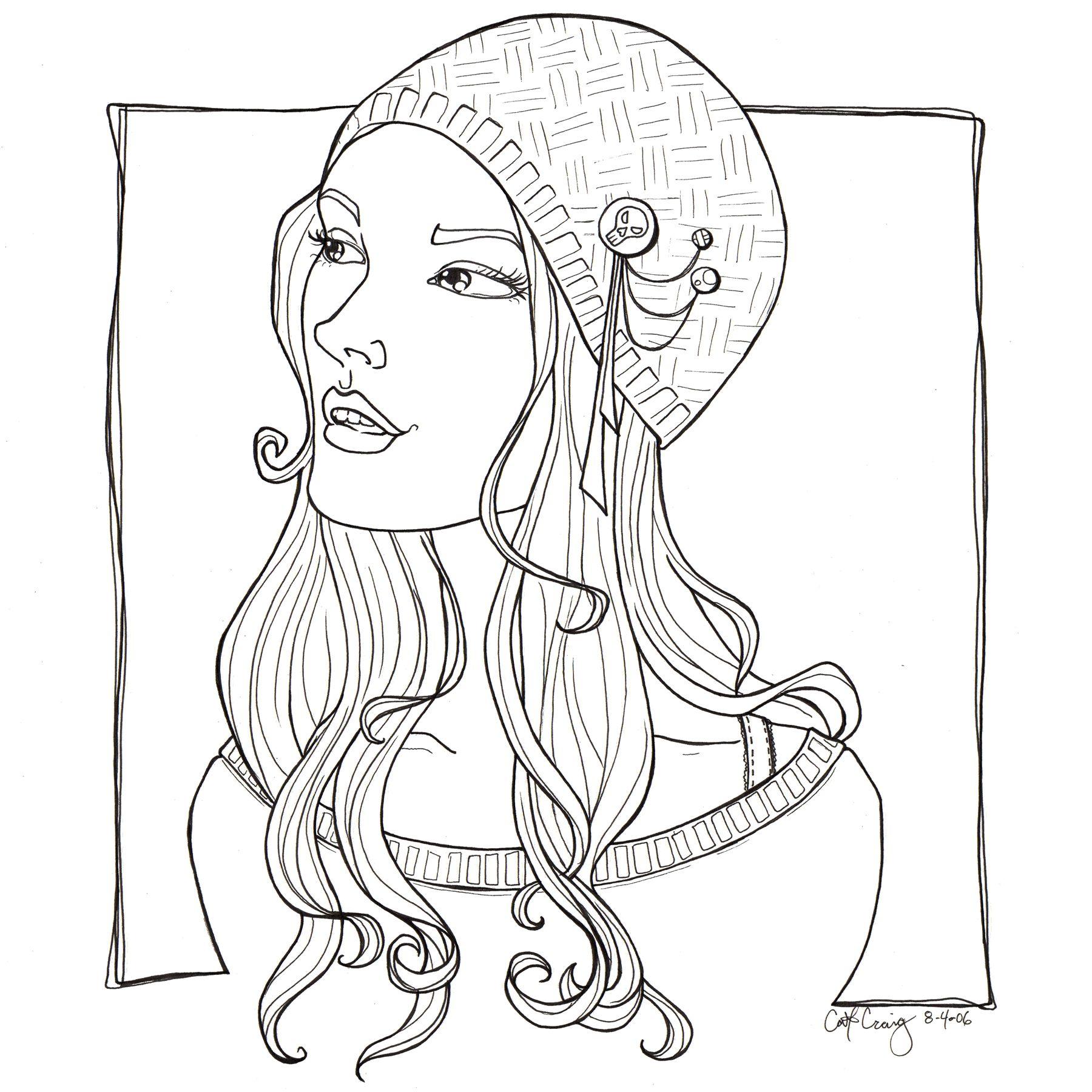 Pretty girl funky hat lineart by *catzilla on deviantART ...