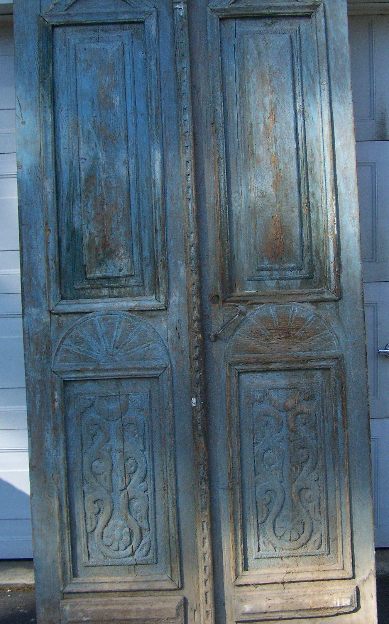 Antique Mediterranean Wood Doors With Raised Panels Salvage European Doors Aqua Doors Architectural Carved Flo Interior Barn Doors Old Wood Doors Antique Doors