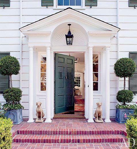 Classic Front porch like the green door and the brick steps. & Timothy Corrigan\u0027s Los Angeles Home | Brick steps Green front doors ...
