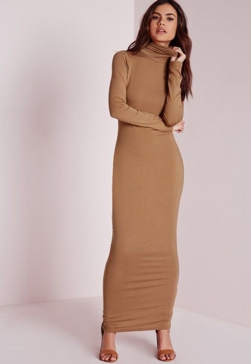 b2ce9c7ce7 Roll Neck Long Sleeve Bodycon Maxi Camel - Dresses - Maxi Dresses – Day  Dresses - Missguided