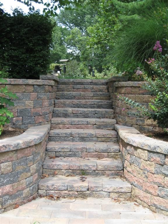 Beautiful Stairway Flanked By Retaining Walls. Concrete Block Construction.  Call Basile Landscaping And Lawn