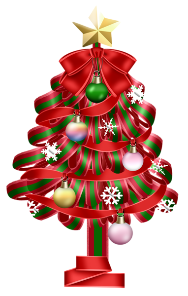 Transparent Red Christmas Deco Tree Clipart
