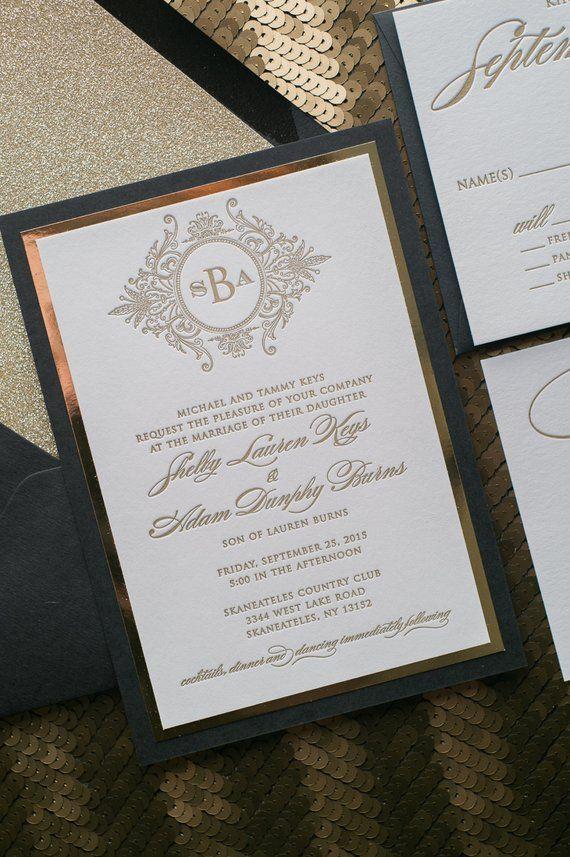 Letterpress Printing Fancy Black And Gold Glitter Wedding