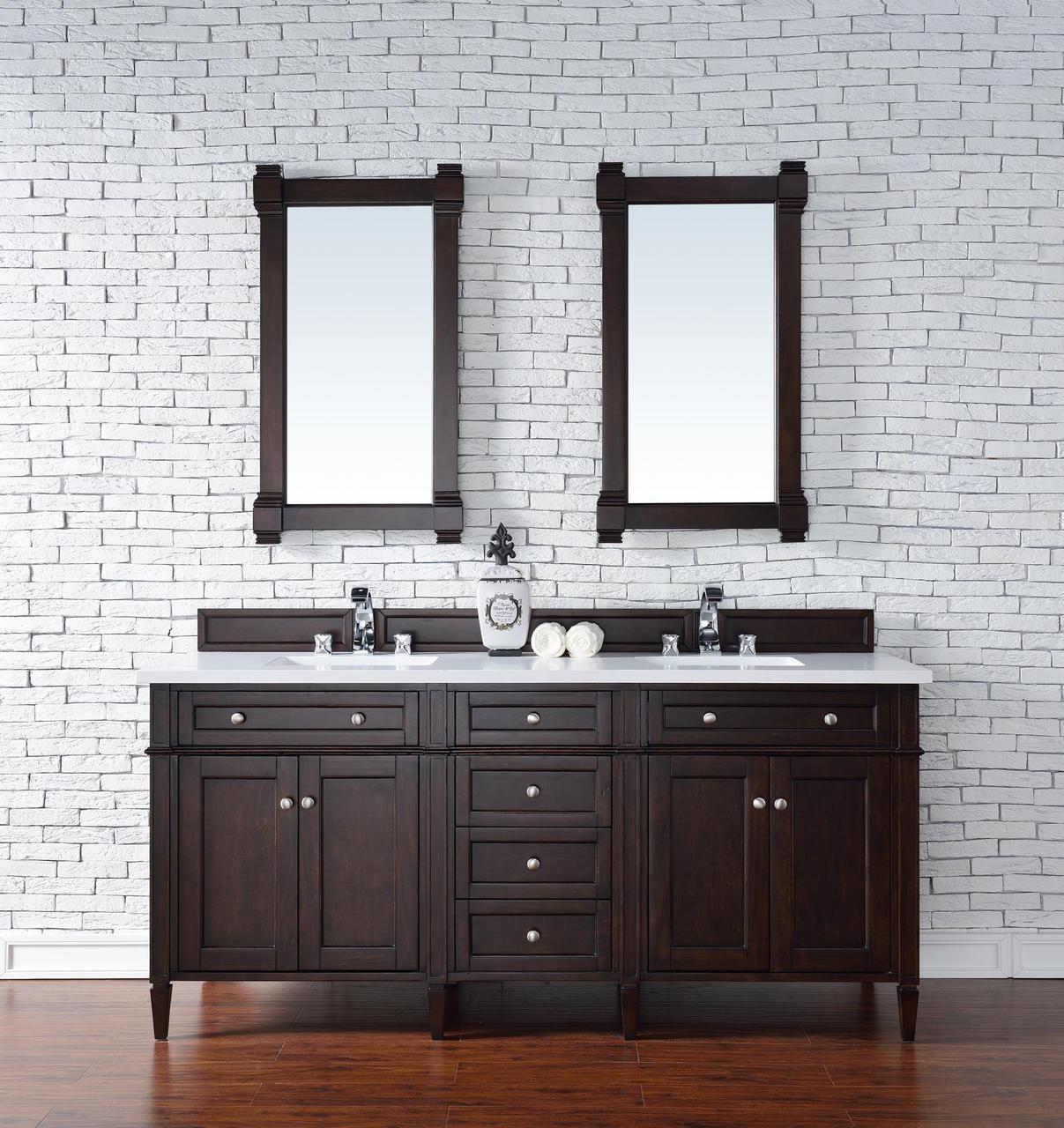 Contemporary 72 Inch Double Sink Bathroom Vanity Mahogany Finish No Top