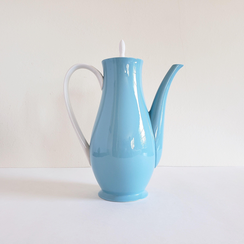 Vintage MidCentury Ceramic Coffee Pot, Sky Blue Pottery