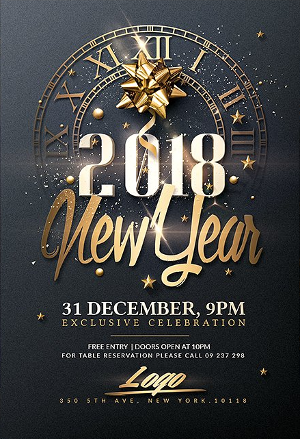 New Year Psd Flyer Template By Creativeflyers Poster Template Design Psd Flyer Templates Flyer Template