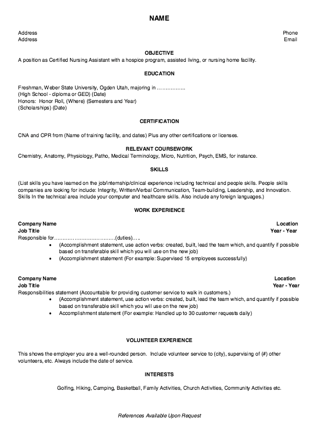 Sample Resume Accomplishment Statements | New Graduate Cna Resume Http Exampleresumecv Org New Graduate