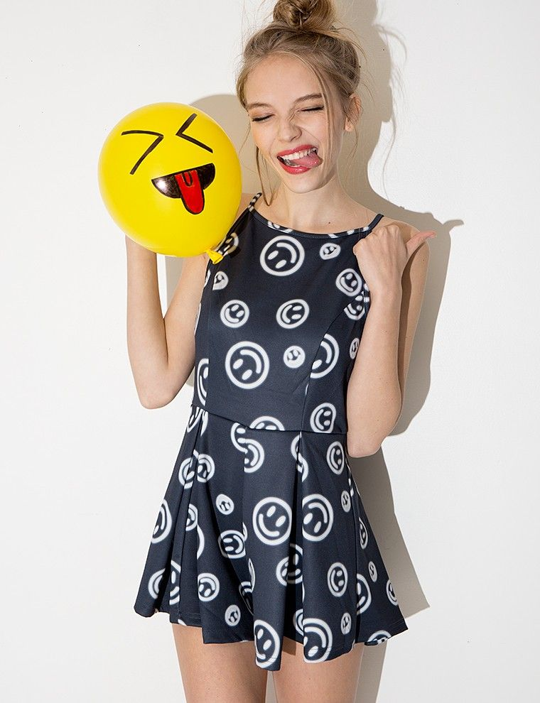 b980fcd8a7ff Cute Emoji Playsuit - Smiley Face Romper - Onesies -  50