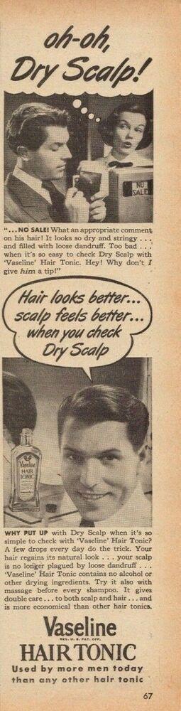 1947 Vaseline Hair Tonic trockene Kopfhaut Vintage Foto Printwerbung  1947 Vaseline Hair Tonic trockene Kopfhaut Vintage Foto Printwerbung