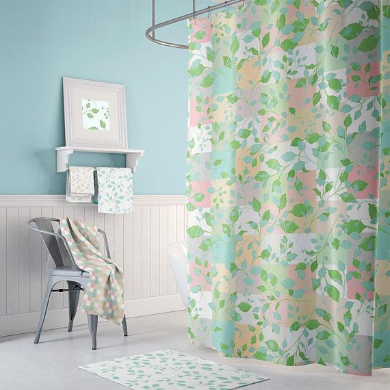 Extra long shower curtain floral shower curtain shabby chic bathroom