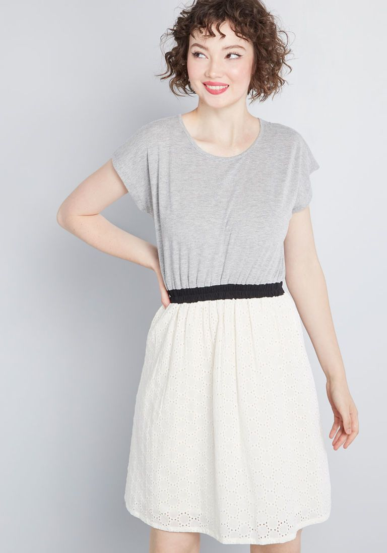 248b07e84e865 Exciting Outing Twofer Dress in M - Short Sleeve A-line Knee Length by  Compania