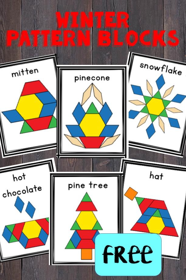 Winter Pattern Blocks Preschool Math Kindergarten Activities