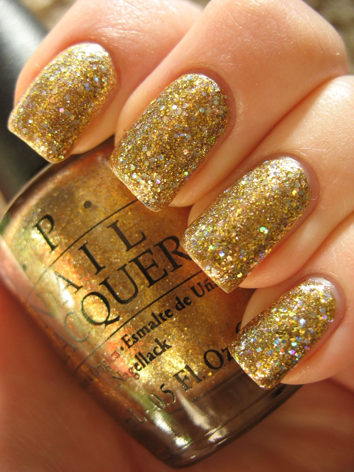 DIY :: OPI Dazzled By Gold (smooth gold w/ gold ...