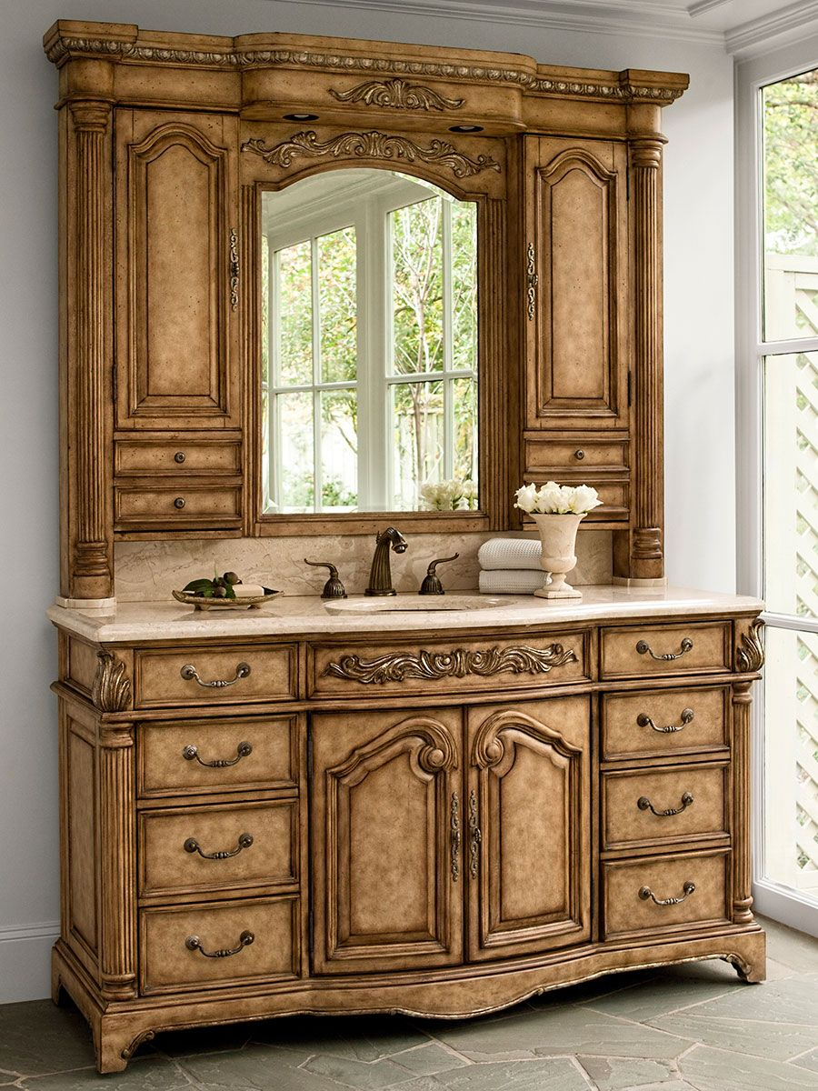 "64"" Monticello Single Bath Vanity With Hutch  Vanities Stunning Antique Bathroom Vanities Review"