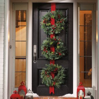 Martha Stewart / 3 Christmas Wreaths on Red Ribbon...I ...