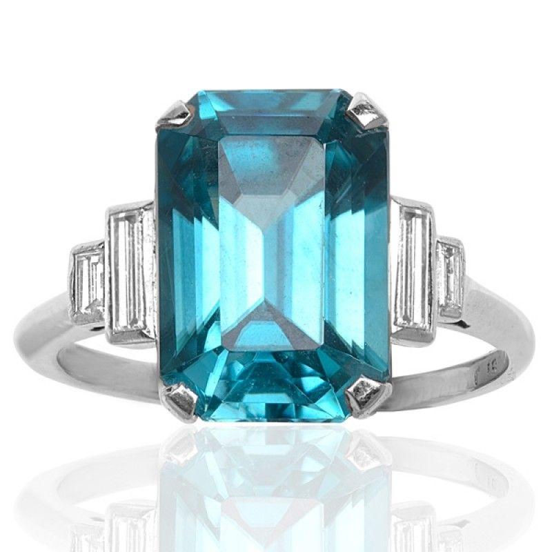 aec270a687a6c So Stunning.....Emerald Cut Blue Zircon & Diamond Ring | Jewelry ...