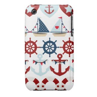 Summer Nautical Theme Anchors Sail Boats Helms Case-Mate iPhone 3 Cases