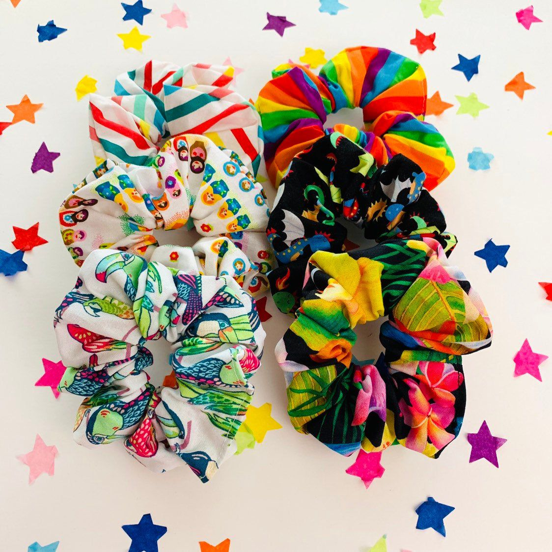 Rainbow Multicolored Scrunchie Hair Scrunchies